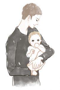 子どもを抱っこする男性